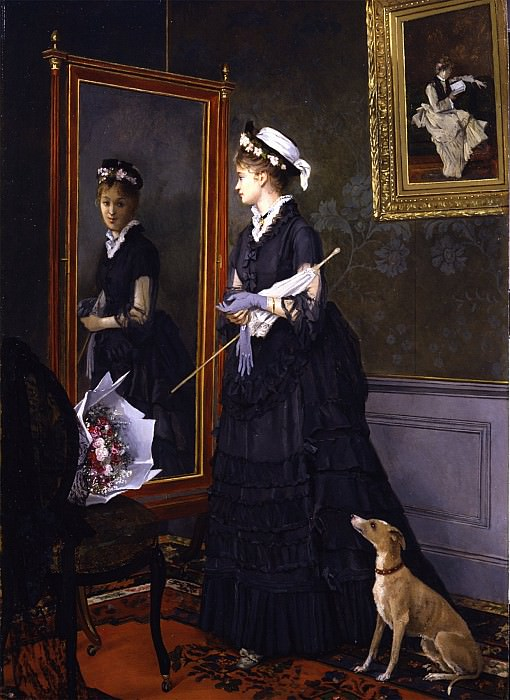 CAMILLE LÉOPOLD CABAILLOT LASSALLE Elegant woman looking at herself in a mirror 26644 172. European art; part 1