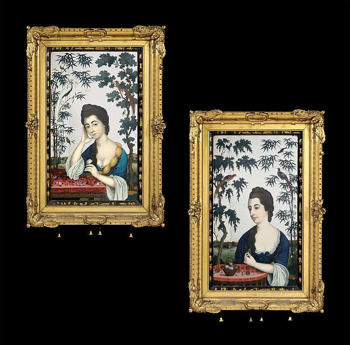 An Exceptional Pair of 18th Century Chinese Export Reverse Mirror Paintings on Glass 5908 308. European art; part 1