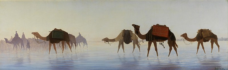 Charles Theodore Frere Camels crossing Water. European art; part 1