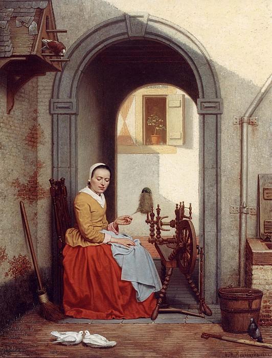 Antoon Francois Heyligers A Young Lady at a Spinning Wheel 12107 2426. Европейская живопись; часть 1