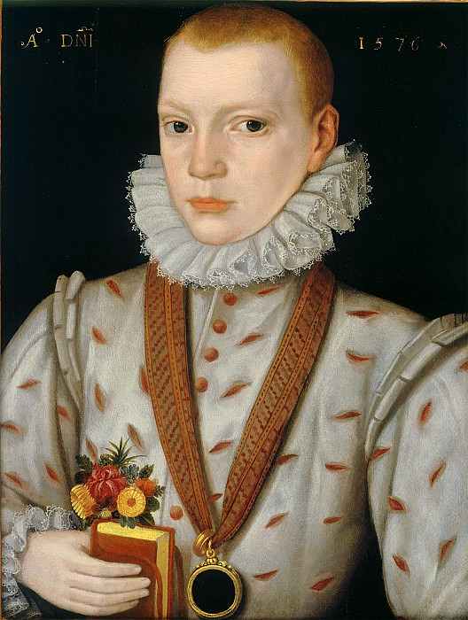 Attributed to The Master of the Countess of Warwick A Young Boy Holding a Book with Flowers i 39147 321. European art; part 1
