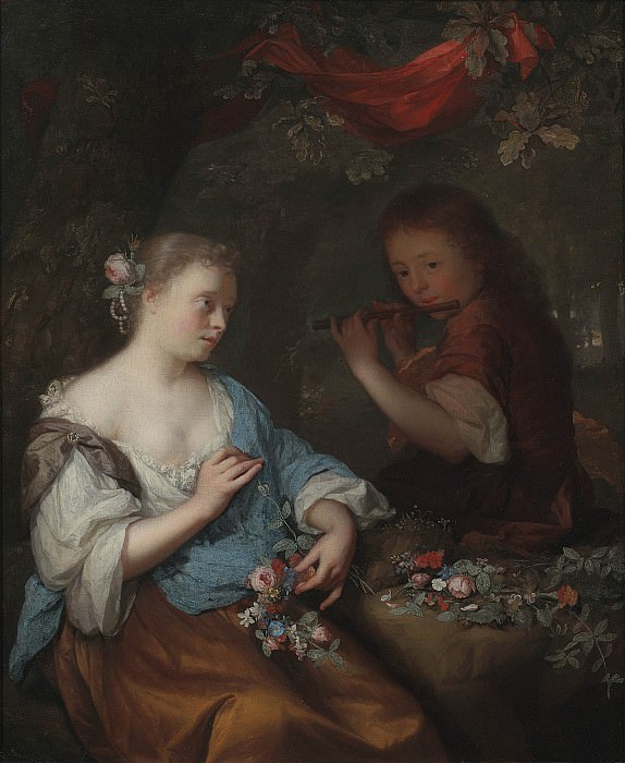 Arnold Boonen A young boy playing a flute to a young woman holding a garland of flowers in a wooded landscape 1667 20. European art; part 1