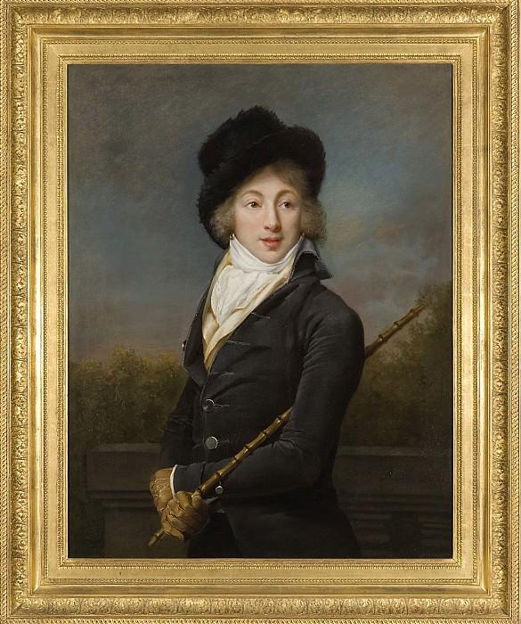 ADÈLE ROMANÉE called Romany A Portrait of Auguste Vestris half length wearing a Grey Coat and a Fur Hat 125459 316. European art; part 1
