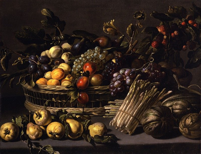 ADRIAEN VAN UTRECHT - A still life with apricots plums figs peaches and grapes in a basket on a stone ledge together with pears squash and asparagus. European art; part 1