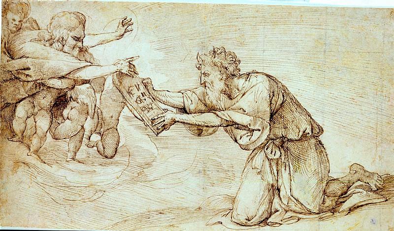 Domenico Campagnola God the Father Handing the Ten Commandments to Moses 32309 172. European art; part 1