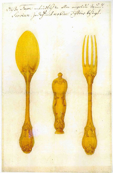 AUGSBURG MASTER mid 18 Century Design for a Silver Cutlery Set 11679 172. European art; part 1