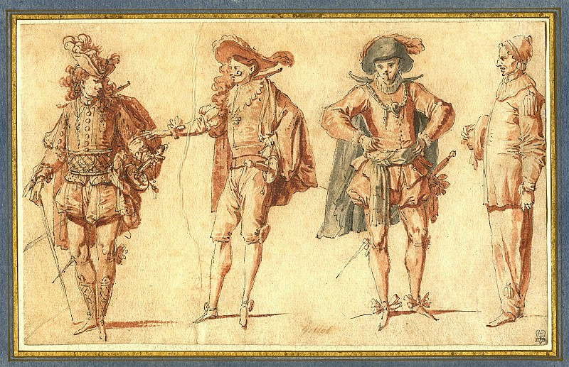 Claude Gillot Four Commedia dell'Arte Figures Three Gentlemen and Pierrot 39747 172. Европейская живопись; часть 1