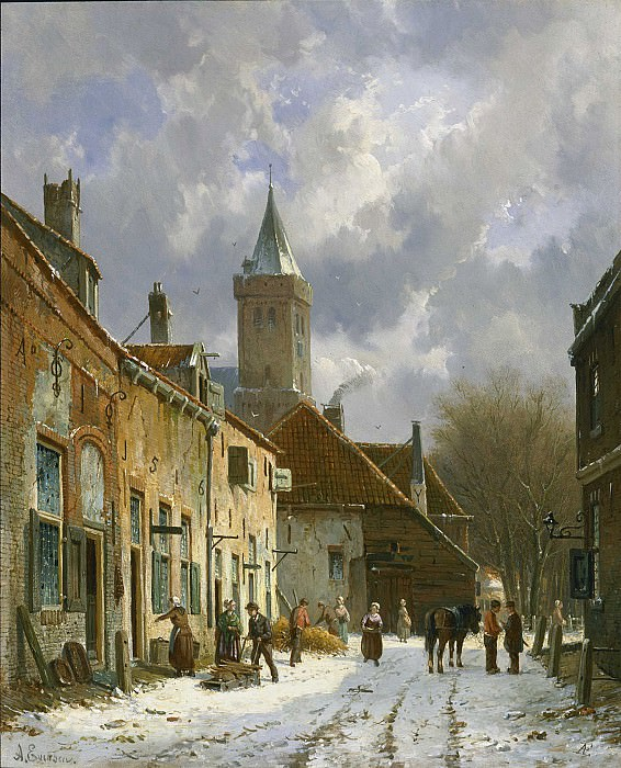 Adrianus Eversen A Dutch street scene. European art; part 1