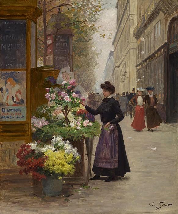 Victor Gilbert Jeune floriste sur les grandes boulevards Paris 28306 20. часть 5 - европейского искусства Европейская живопись