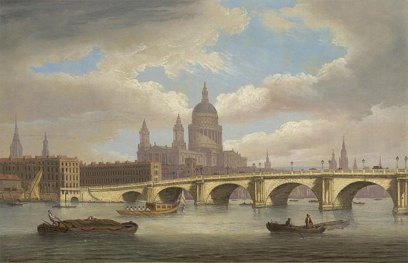 Thomas Luny View of the River Thames with St Pauls Cathedral and Blackfriars Bridge 99459 20. часть 5 -- European art Европейская живопись