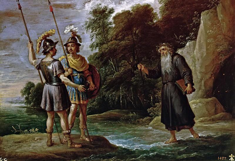 Teniers, David -- El mago descubre a Carlos y Ubaldo el paradero de Reinaldo (La búsqueda de Reinaldo). Part 6 Prado Museum