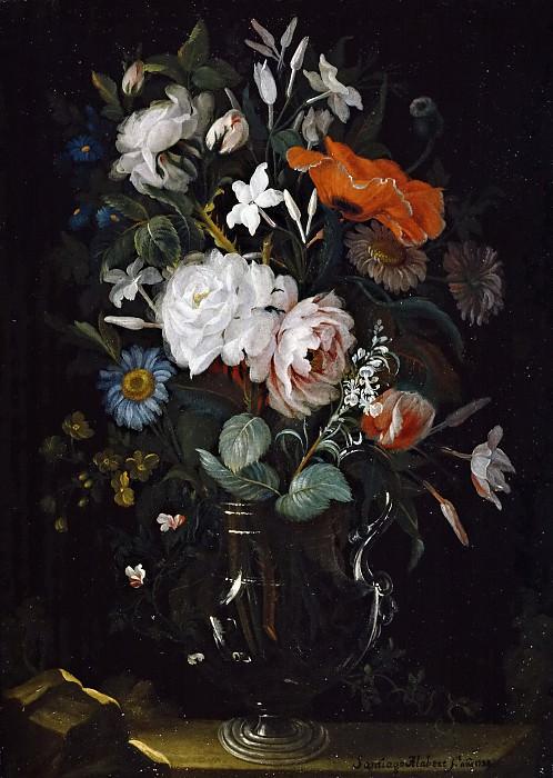 Alabert, Santiago -- Floreros con rosas y jazmines. Part 6 Prado Museum