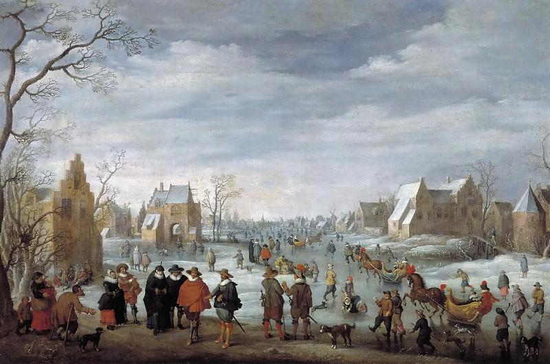 Droochsloot, Joost Cornelisz. -- Paisaje invernal con patinadores. Part 6 Prado Museum