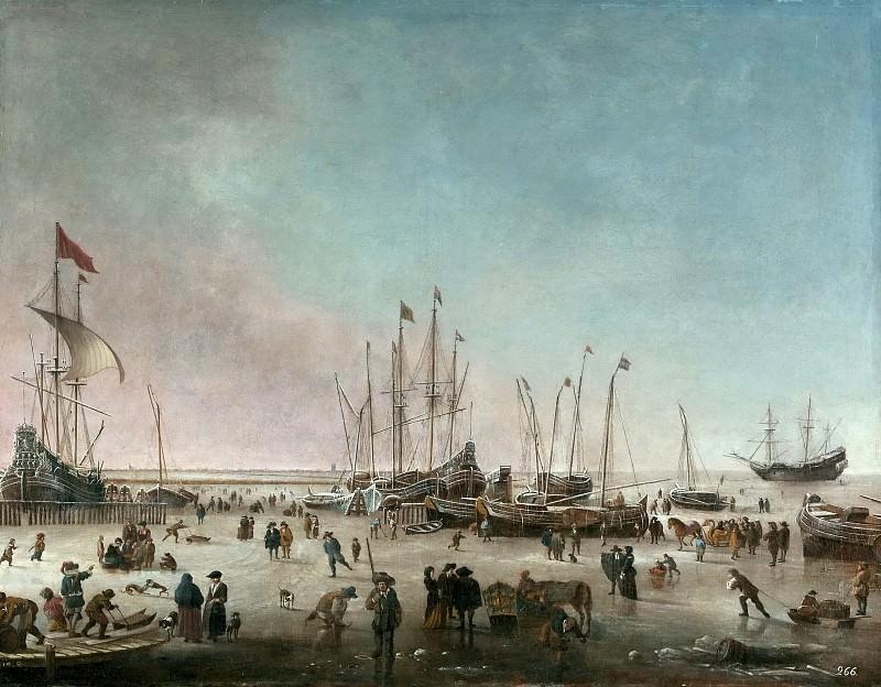 Dubbels, Hendrick Jacobsz. -- El puerto de Amsterdam en invierno. Part 6 Prado Museum
