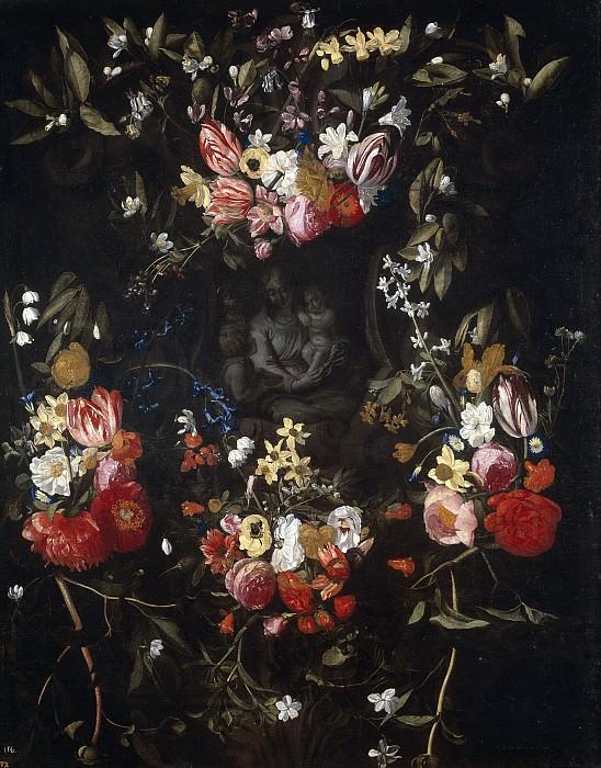 Quellinus, Jan Erasmus; Seghers, Daniel -- Guirnalda de flores con la Virgen, el Niño y San Juan. Part 6 Prado Museum