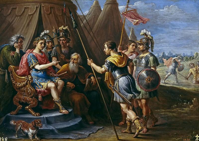 Teniers, David -- Godofredo y el Consejo escuchan la demanda de Armida. Part 6 Prado Museum