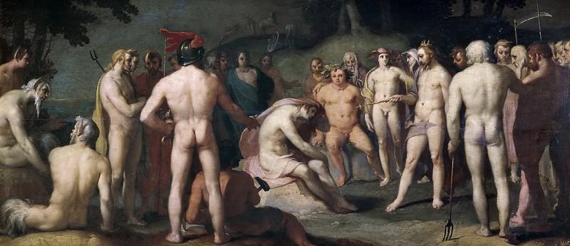 Cornelisz. van Haarlem, Cornelis -- Júpiter a los demás dioses urgen a Apolo a retomar las riendas del carro del Día. Part 6 Prado Museum
