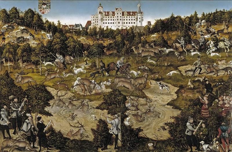 Cranach, Lucas -- Cacería en honor de Carlos V en el castillo de Torgau. Part 6 Prado Museum