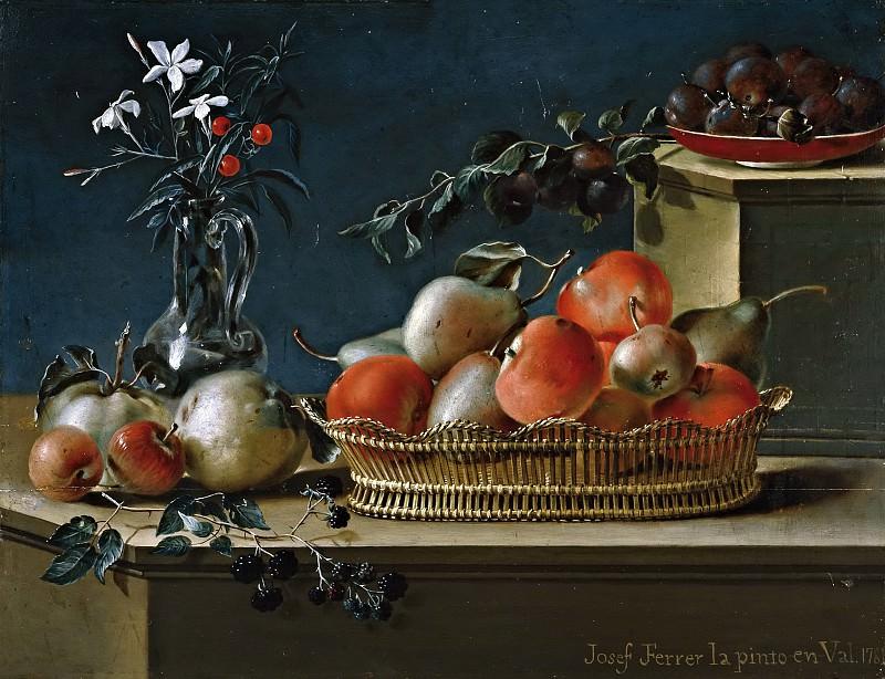 Ferrer, José -- Bodegón de frutas y florero de cristal. Part 6 Prado Museum