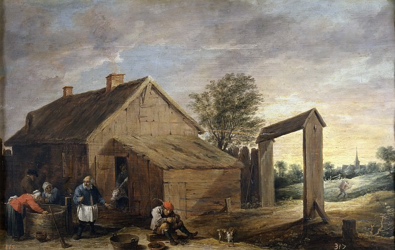 Teniers, David -- Aldeanos conversando. Part 6 Prado Museum