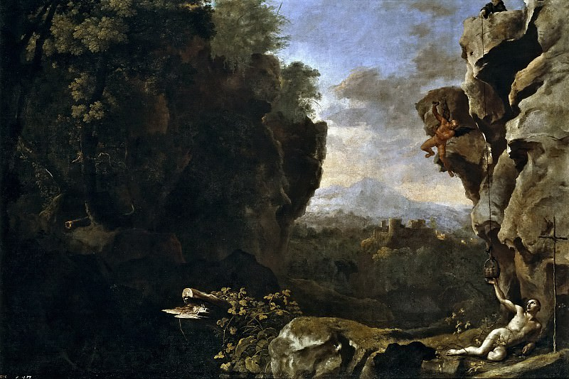Swanevelt, Herman van -- Paisaje con San Benito de Nursia. Part 6 Prado Museum