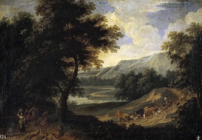 Boudewijns, Adriaen Fransz. -- Paisaje con pastores y ganado. Part 6 Prado Museum