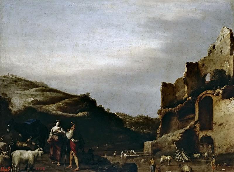 Poelenburch, Cornelis van -- Paisaje con ruinas romanas y pastores. Part 6 Prado Museum