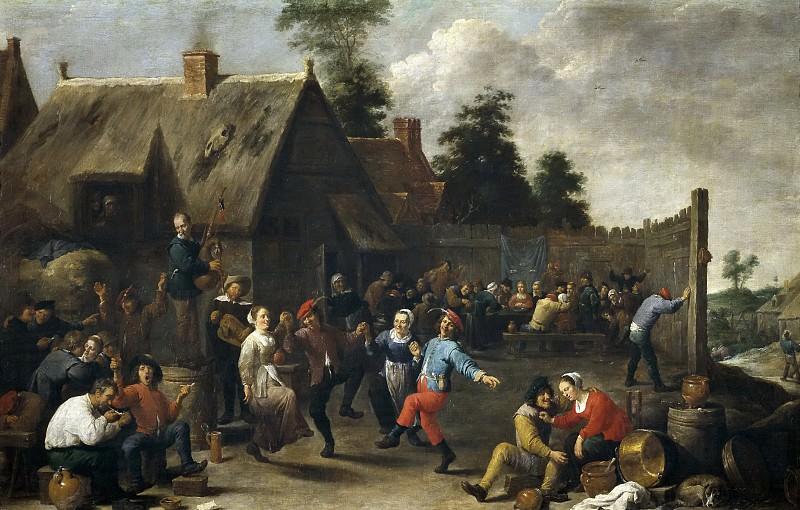 Teniers, David -- Fiesta y comida de aldeanos. Part 6 Prado Museum