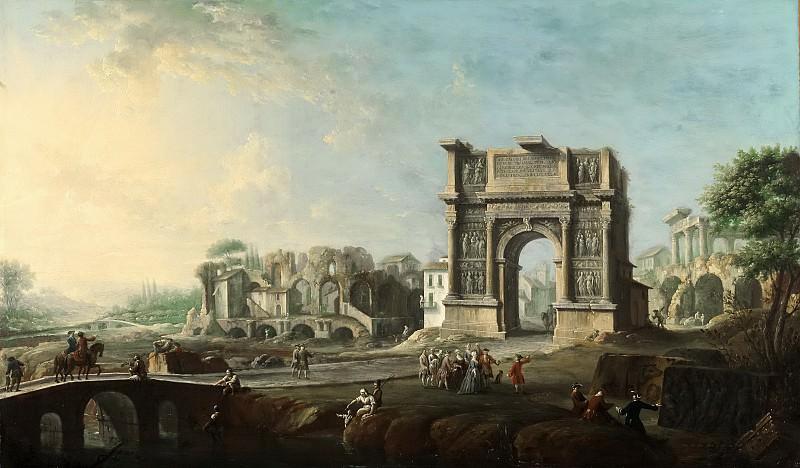 Joli, Antonio -- Visita de la reina María Amalia de Sajonia al Arco de Trajano en Benevento. Part 6 Prado Museum