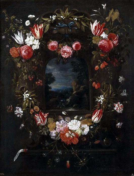 Ykens, Catarina II -- Paisaje dentro de una guirnalda. Part 6 Prado Museum