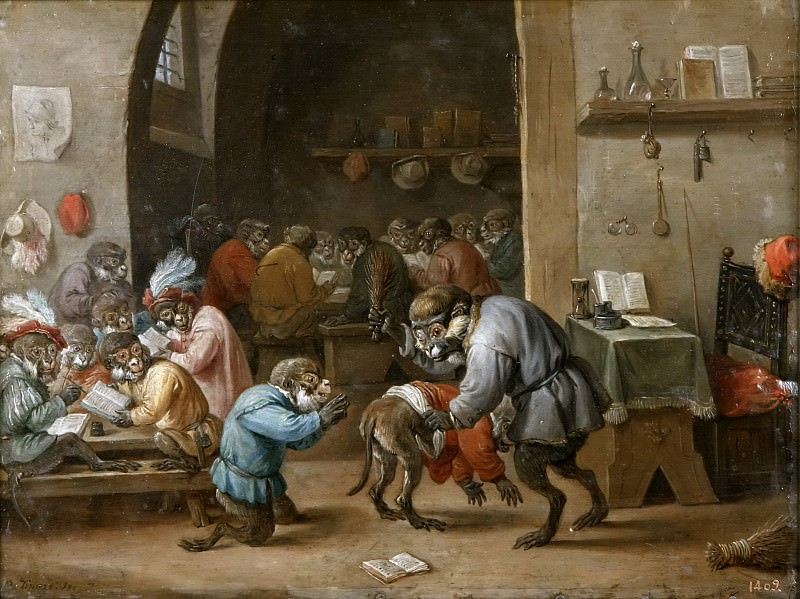 Teniers, David -- Monos en la escuela. Part 6 Prado Museum