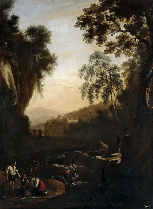 Swanevelt, Herman van -- Paisaje con familia de pescadores al atardecer. Part 6 Prado Museum