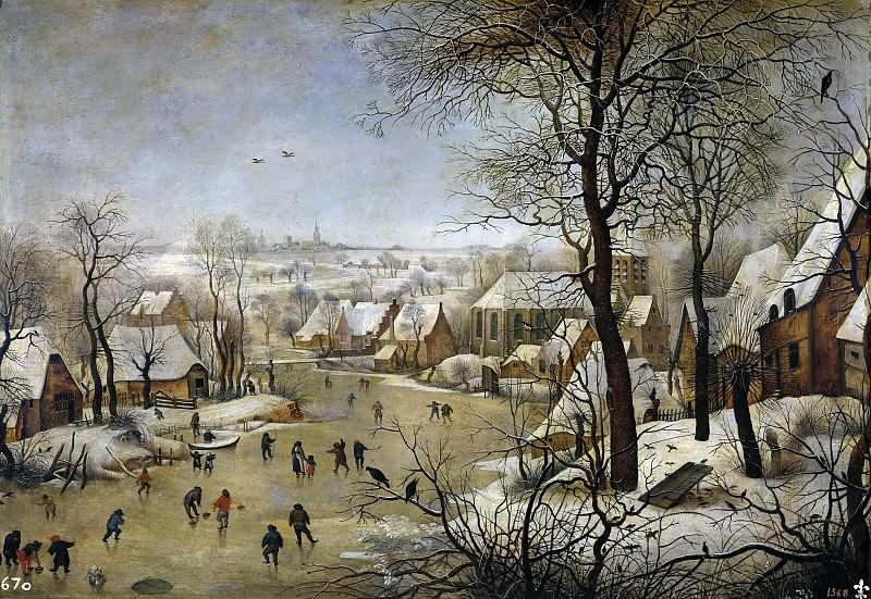 Paisaje nevado con patinadores y trampa para pájaros.. Pieter Brueghel the Younger