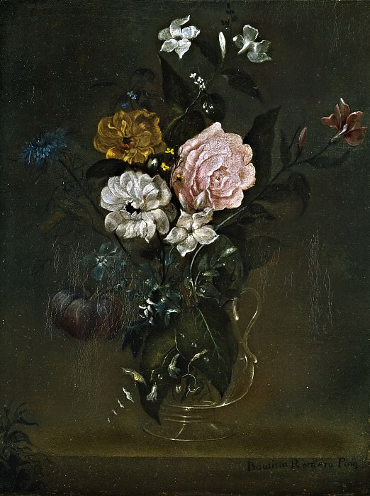 Romero, Juan Bautista -- Florero de cristal con rosas y jazmines. Part 6 Prado Museum