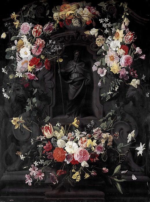Thielen, Jan Philip van -- San Felipe en hornacina rodeada de flores. Part 6 Prado Museum
