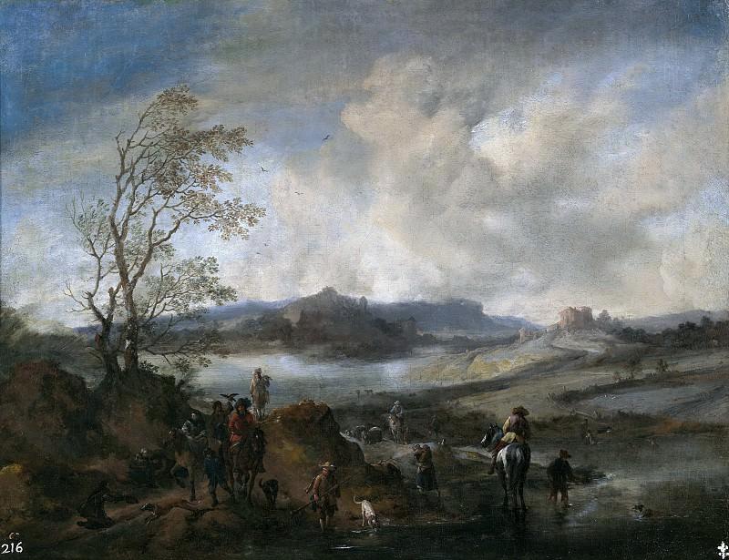 Wouwerman, Philips (y taller) -- Partida de cetrería entrando en un río. Part 6 Prado Museum