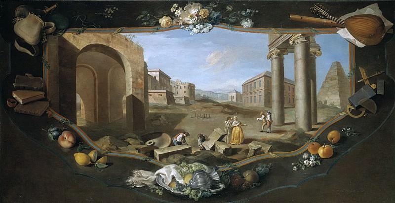Flipart, Charles Joseph -- Paisaje con perspectiva arquitrectónica, columnas y pirámide con cenefa decorativa en trampantojo. Part 6 Prado Museum