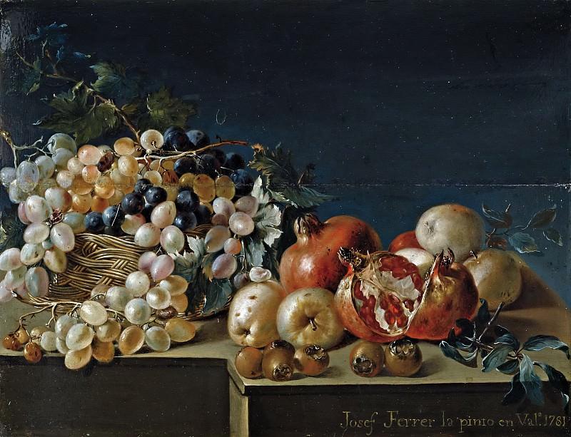 Феррер, Хосе -- Натюрморт с виноградом и гранатами. часть 6 Музей Прадо