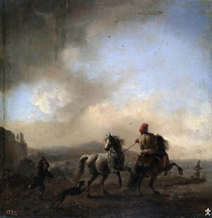 Wouwerman, Philips -- Caballos asustados por un perro. Part 6 Prado Museum