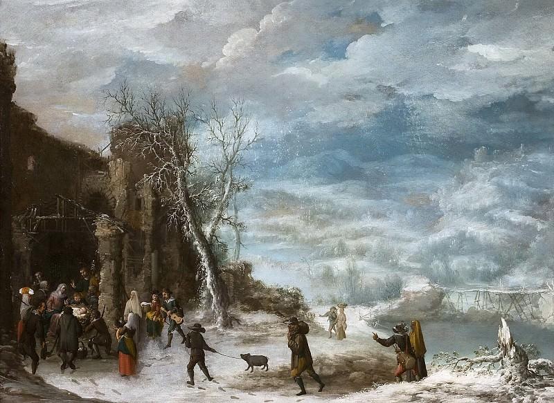 Collantes, Francisco -- Paisaje de invierno con la Adoración de los pastores. Part 6 Prado Museum