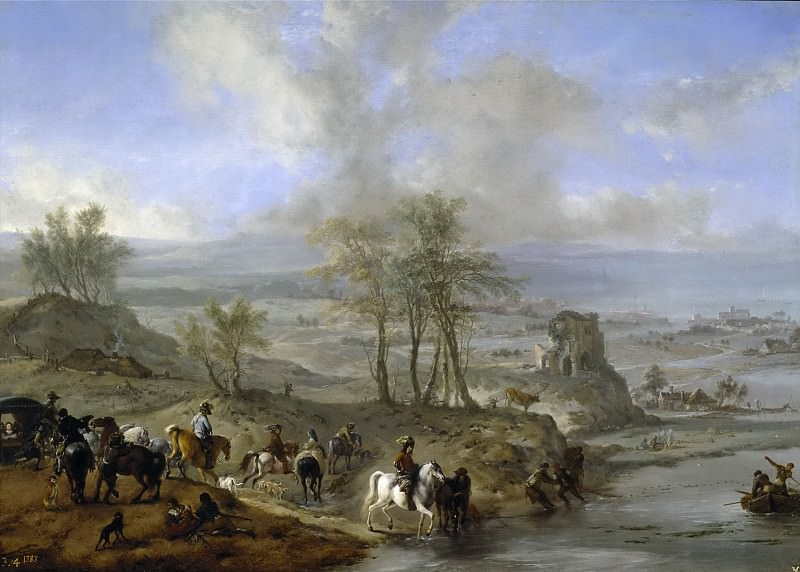 Wouwerman, Philips -- Partida de caza y pescadores. Part 6 Prado Museum