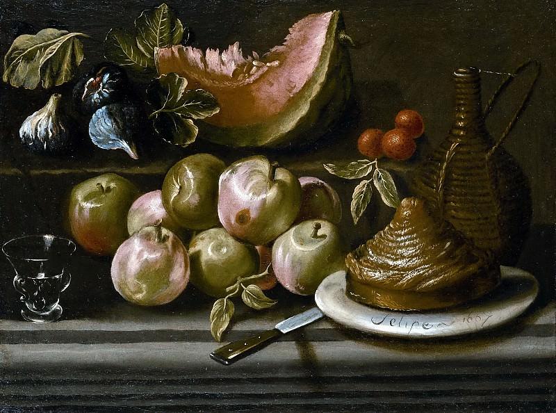 Очоа, Филип Габриэль (приписывается) -- Натюрморт фруктами, бутылью и стеклянным бакалом. часть 6 Музей Прадо