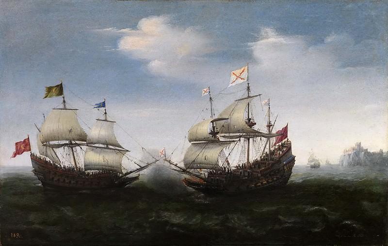 Vroom, Hendrick Cornelisz. -- Combate naval frente a una costa rocosa. Part 6 Prado Museum