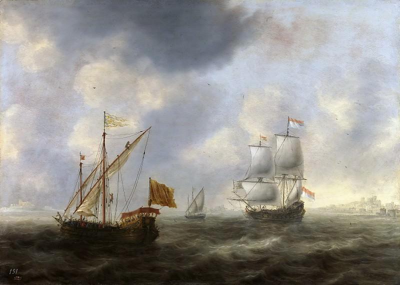 Bellevois, Jacob Adriaensz. -- Galera turca y navío holandés frente a la costa. Part 6 Prado Museum