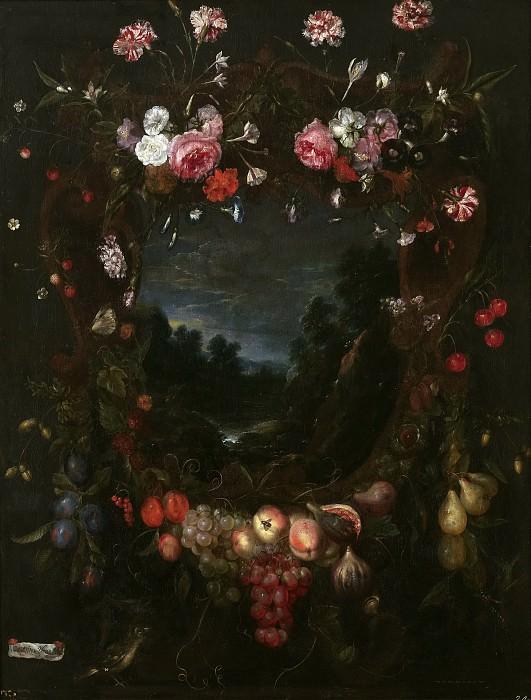 Ykens, Catarina II -- Guirnalda con paisaje. Part 6 Prado Museum