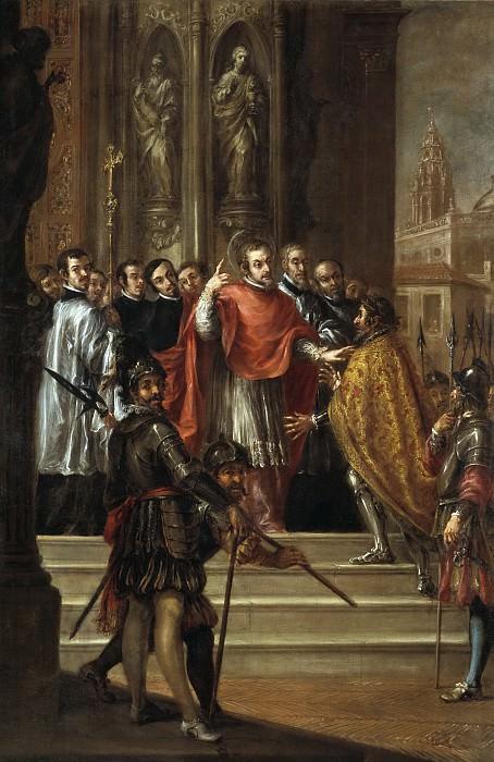 Вальдес Леаль, Хуан де -- Св Амвросий отказывает императору Феодосию войти в храм. часть 6 Музей Прадо