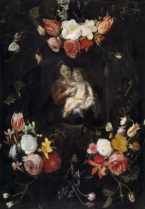 Schut, Cornelis; Seghers, Daniel -- Guirnalda con la Virgen y el Niño. Part 6 Prado Museum