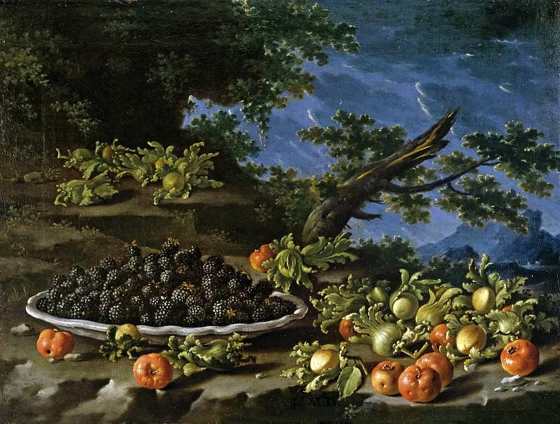 Meléndez, Luis Egidio -- Bodegón con plato de moras, acerolas y avellanas en un paisaje. Part 6 Prado Museum