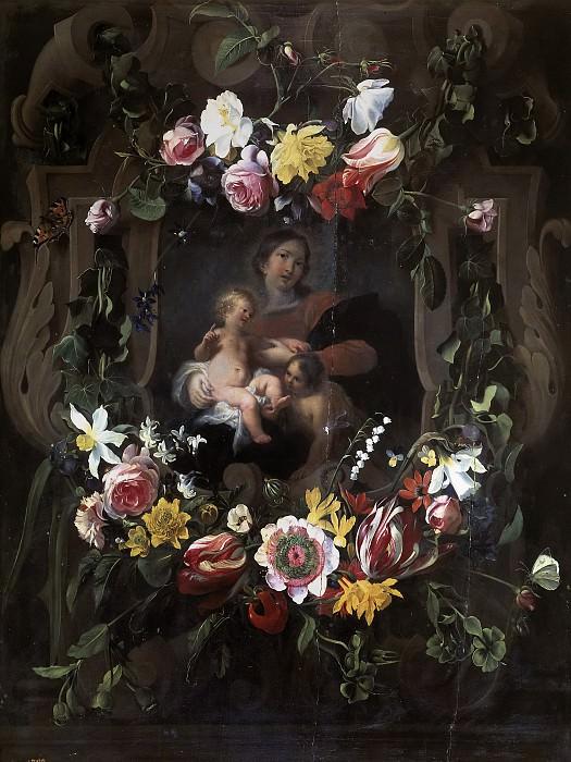 Корнелис Схют и Даниэль Сегерс -- Мадонна с младенцем и св Иоанном в картуше с цветами. часть 6 Музей Прадо
