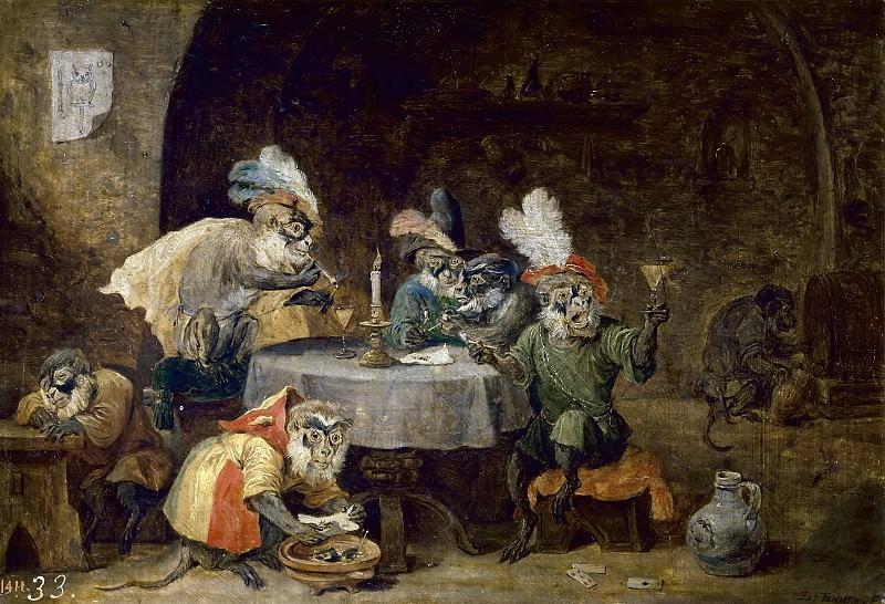 Teniers, David -- Monos fumadores y bebedores. Part 6 Prado Museum